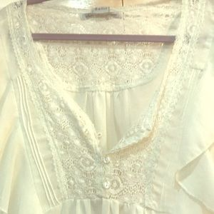 Sheer blouse with lace